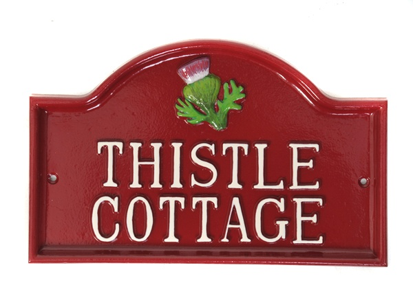a perfect arched house sign for a hand painted thistle motif thistle cottage name plate - Best House Names