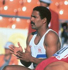 Daley Thompson. Decathlete. Born Notting Hill or Worcester Park (sources differ). Olympic gold in 1980 and 1984. Not sure what the South Bank/Southwark connection might be.