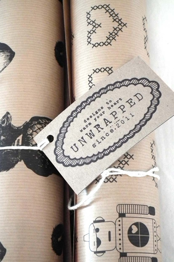 wrapping paper -  black digital print onto brown craft wrapping paper - A0 size  www.unwrapped.co.za