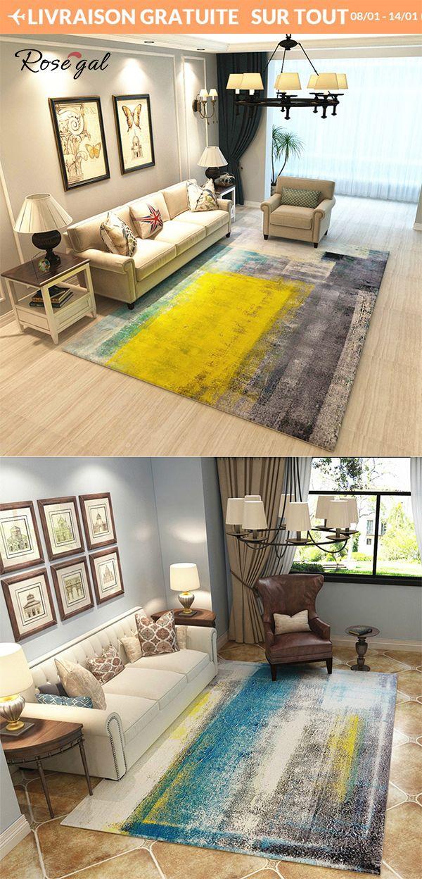 Tapis salon abstrait Grand tapis pas cher pour le bureau le ...