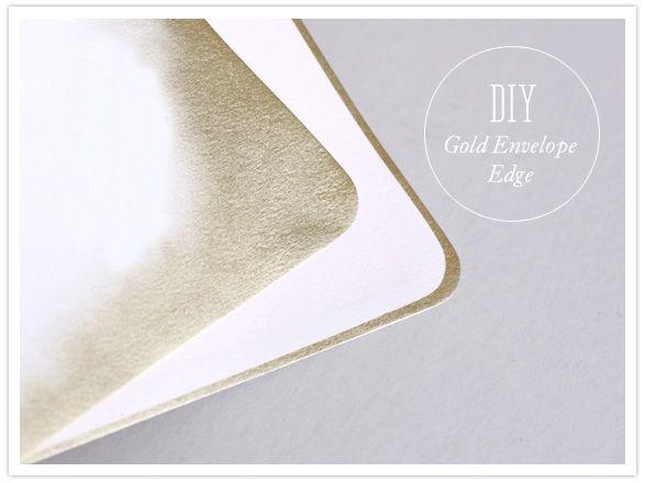 DIY gold envelope edge: Gold Edge, Diy Gold, Envelope Edge, Golden Envelope, Edged Envelope