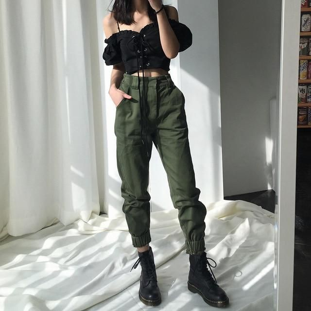 Girls's Excessive waist camouflage unfastened pants punk joggers streetwear Purchase Excessive waist…