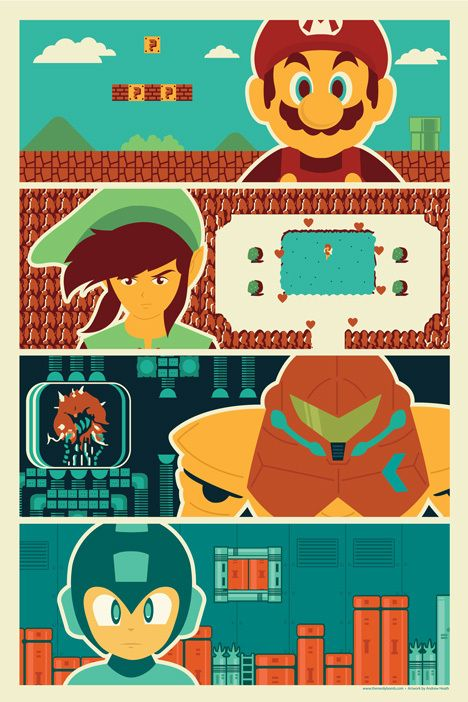 "80's Poster - You get the Andrew Heath designed, exclusive print ""80's Heroes."" The print features Mario, Link, Metroid/Samus, and Mega-Man. This 12""x18"" print was designed exclusively for TheNerdyBomb"