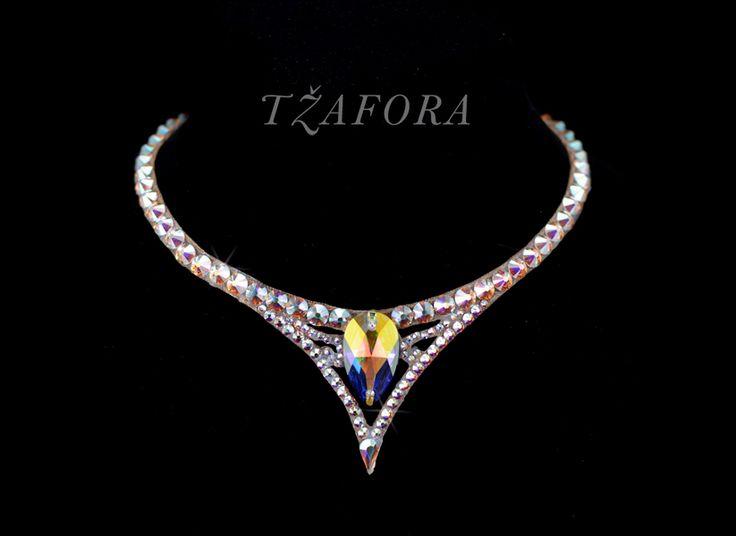 """Moment's Notice"" - Swarovski ballroom necklace. Ballroom jewelry, ballroom accessories. www.tzafora.com Copyright © Tzafora. Handmade in Canada"