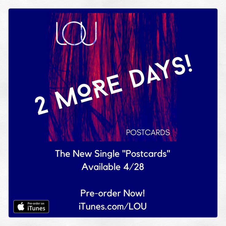 """Happy Wednesday! 2 More Days Until my new single """"Postcards"""" is available! You can Pre-order now at http://smarturl.it/Postcards2017 I can't wait for you to hear it #newmusic #newmusicfriday #music #lou #postcards #piano #itunes #applemusic #spotify #amazon #download #stream #musician #artist #happy #love #excited #fans #bucketlist #wednesday #news #newsingle #radio #april #heart #art #creative #wednesdaywisdom #spring #hug"""
