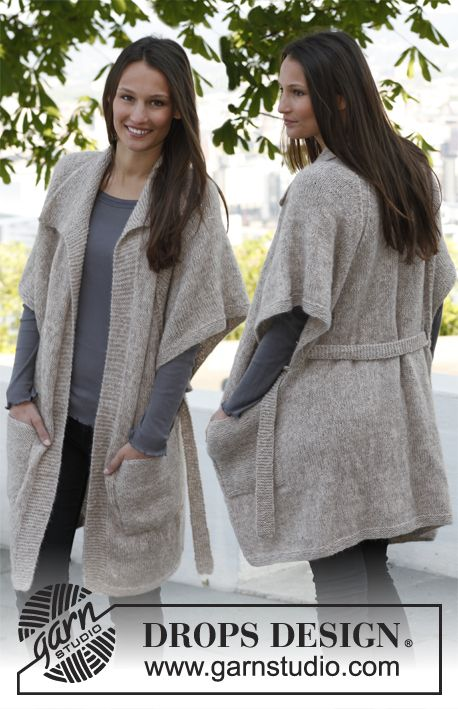 """Knitted large DROPS jacket with wide, ¾ sleeves, deep raglan, belt and pockets in """"Alpaca"""" and """"Kid-Silk"""". Size: S - XXXL. ~ DROPS Design"""