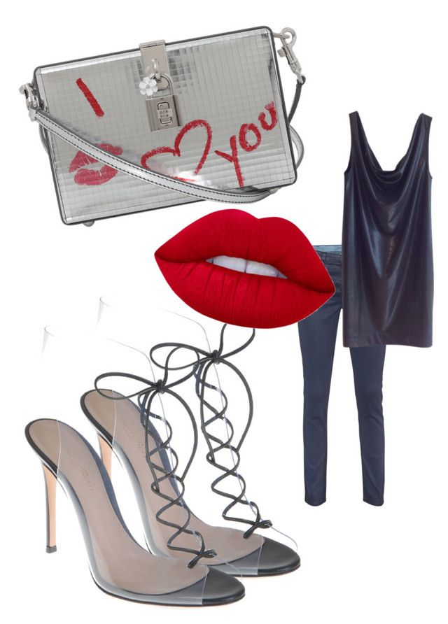 """Street Style"" by viktoria-kot ❤ liked on Polyvore featuring AG Adriano Goldschmied, COS, Gianvito Rossi, Dolce&Gabbana and Lime Crime"