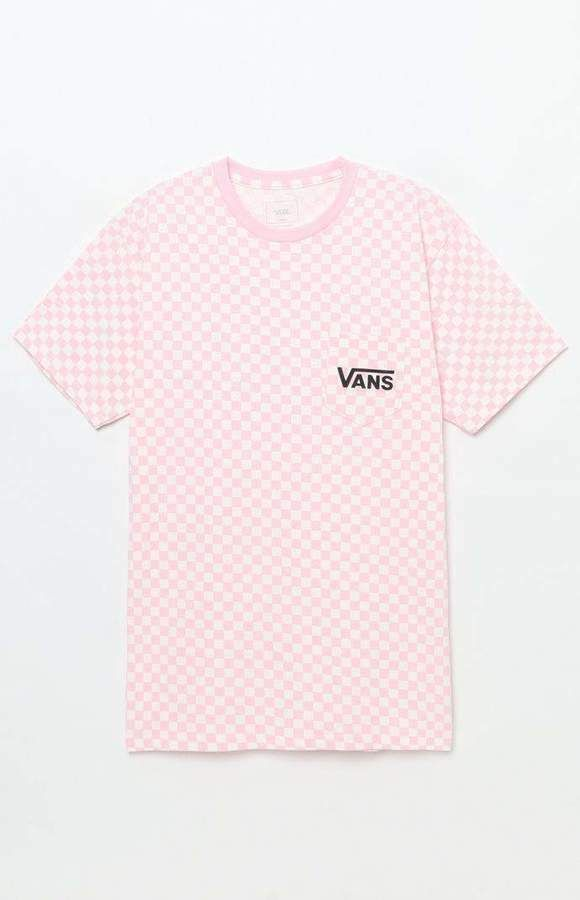 6955bdfc84c6 New Vans Off The Wall Mens Pink Checkerboard Pocket Short Sleeve Tee T-Shirt  L #VANS #GraphicTee