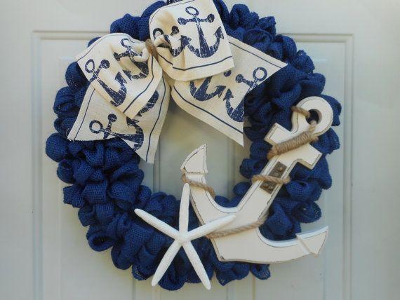 Nautical wreath Beach wreath Anchor wreath by ChloesCraftCloset