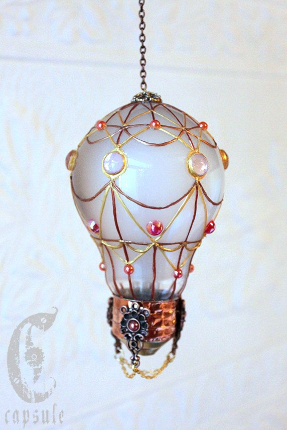 Decorative Ornament Frost White Stained Glass Light Bulb Hot Air Balloon with Pink Cabochons Holiday Christmas by CapsuleCreations on Etsy