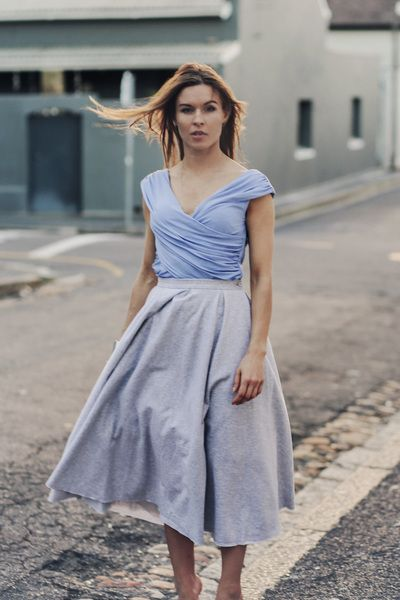 Cotton elegance. Mid calf gray cotton skirt with perfectly fitted cotton top SAMPLE SALE http://milieubazaar.com