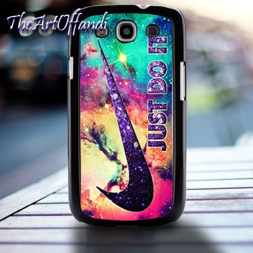 Nike Just Do It Purple Glitter Nebula For Samsung S3 Black Rubber Case