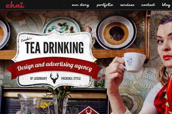 vintage tea drinking advertisements website layout