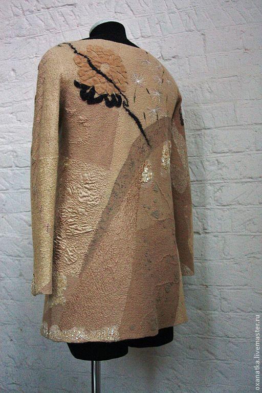 Купить Валяный свитер Карамель и лакрица - бежевый, авторская ручная работа, нуновойлок, печворк