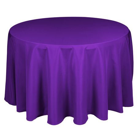 TCPY-108PP 108 Inch Round Polyester Purple Tablecloth - same price to buy as to rent at most places. Smartyhadaparty.com