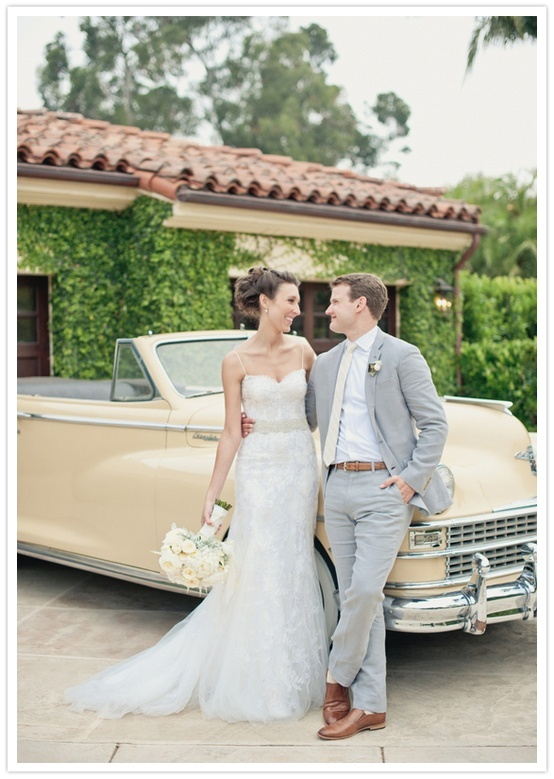 Beautiful vintage attire and car