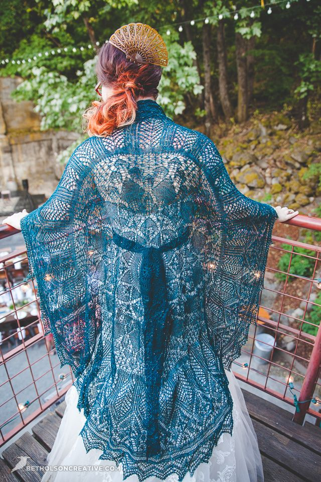 "tinketyboo: "" My wedding shawl. :) Pattern is the Evenstar Shawl, yarn is Madelinetosh Pure Silk Lace in Nebula. """