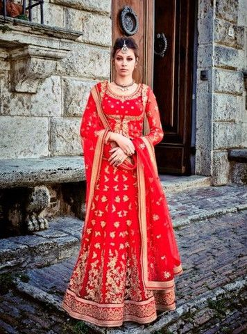 Jinaam 7328A - Red Color Designer Net Lehenga Choli.