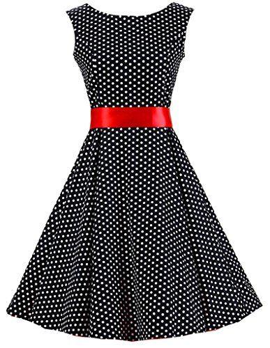 Eudolah Robe à pois babydoll Robe Vintage Classique avec un noeud de papillon style des années 50 Hepburn vacances soirée