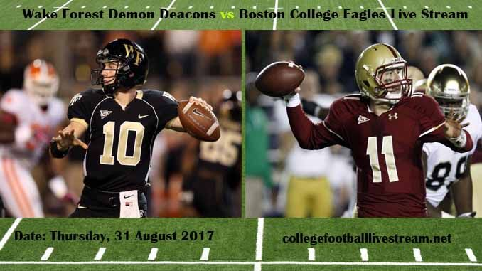 Wake Forest Demon Deacons vs Boston College Eagles Live Stream Teams: Deacons vs Eagles Time: 1:00 PM ET Week-2 Date: Saturday on 9 September 2017 Location: Alumni Stadium, Chestnut Hill, MA TV: ESPN NETWORK Wake Forest Demon Deacons vs Boston College Eagles Live Stream Watch College Football...