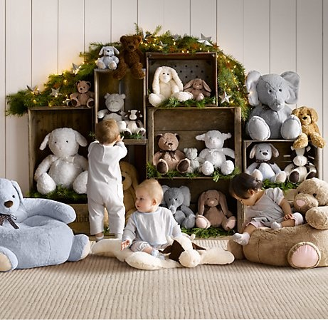 stuffed animal display using crates. Love this idea. Painted crates?