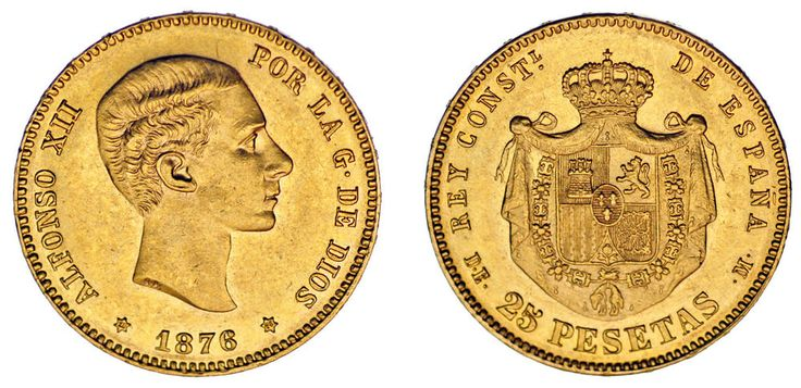 25 GOLD PESETAS / 2 PESETAS DE ORO. ALFONSO XII. MADRID 1876*. XF+/EBC+. BONITA.