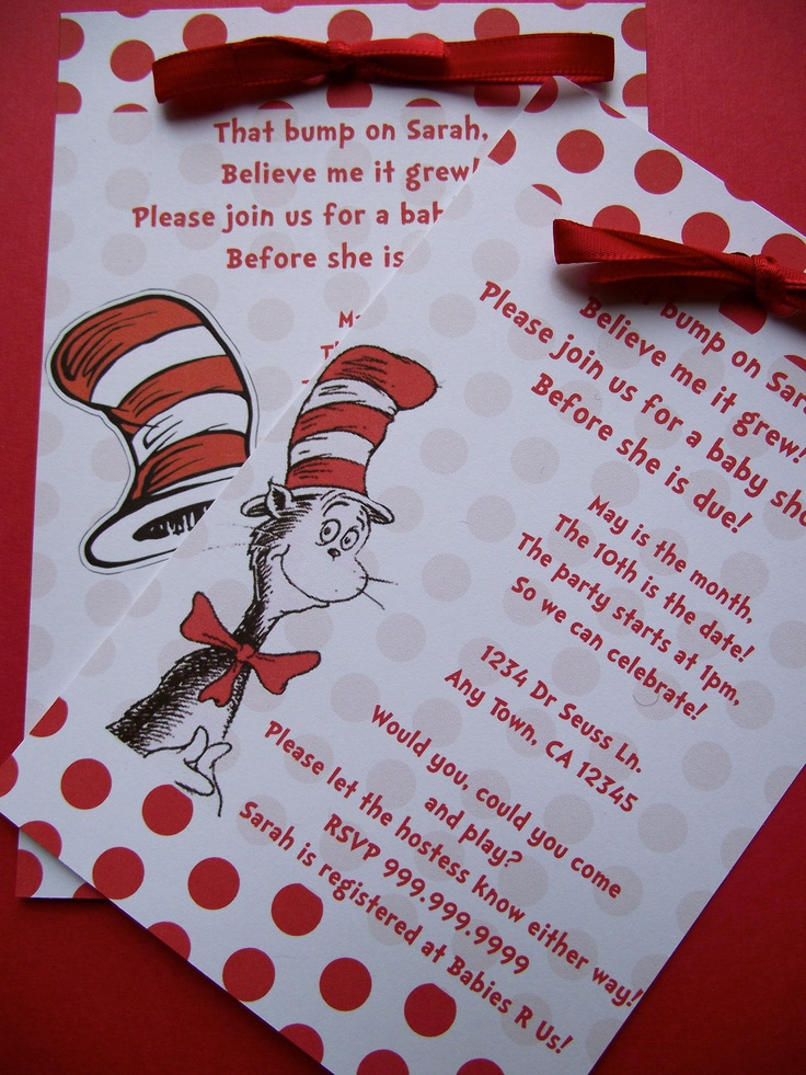dr seuss cat in the hat baby shower or birthday invitation
