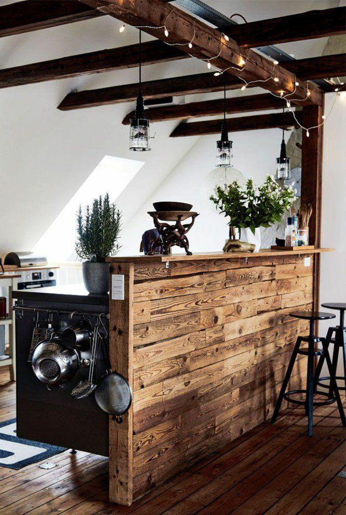 comment bien aménager la cuisine avec poutre bois massif
