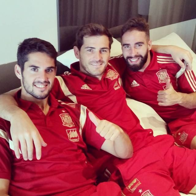 Isco Alarcón, Iker Casillas and Dani Carvajal - SpainNT