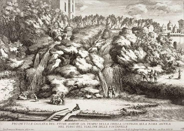 Kaskada rzeki Anio w Villi d'Este w Tivoli – Giovanni Venturini. The Metropolitan Museum of Art, Nowy Jork. Istotnym elementem ogrodu renesansowego była woda. Często dostarczano ją kilkukilometrowymi akweduktami. Obiektami wodnymi były baseny, fontanny, organy wodne, monumentalne kaskady uzupełnione o grupy rzeźb gigantów lub bóstw rzecznych. Ciekawostką były giochi d'acqua – sztuczki wodne lub kunszty wodne, które miały zaskakiwać i bawić gości.