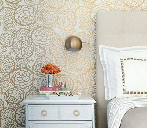 28916 bedroom gold white accent wallpaper wall Bedroom Accent Wall Color and