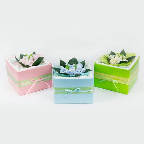 The Bouquet Range  The bouquet range is an adorable gift for the arrival of a new baby or as a baby shower gift.  Each bouquet is delicately arranged with a gorgeous center piece of sock and bib flowers.