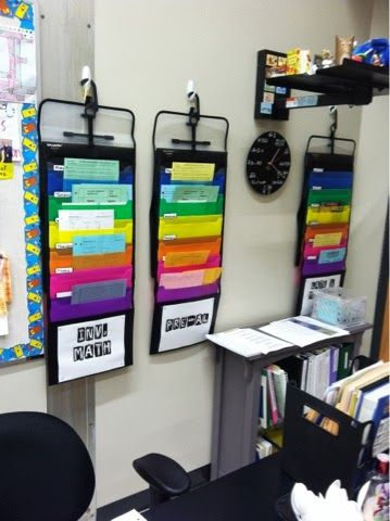Ms. Milleson's 7th Grade Blog: My Classroom: Where Science & Math Meet! Hanging folders for extra papers and missing work.