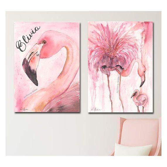 Flamingo Art Set Of 2 Prints Tropical Baby Girl Nursery Wall Art