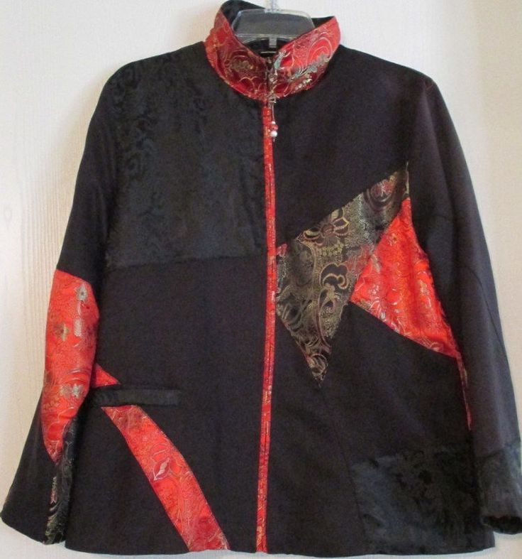 Chicos Size 1 Asian Tapestry Jacket Absolutely Gorgeous Front Zipper Patchwork #Chicos #KimonoJacket