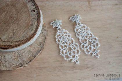 Купить Кружевные свадебные клипсы - белый, свадьба, свадебное украшение, свадебные украшения, серьги
