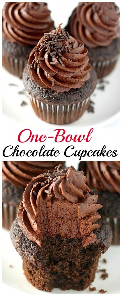 One-Bowl Chocolate Cupcakes - these homemade chocolate cupcakes are moist, fluffy, and piled high with chocolate buttercream! Made in one bowl, so no piles of dirty dishes!