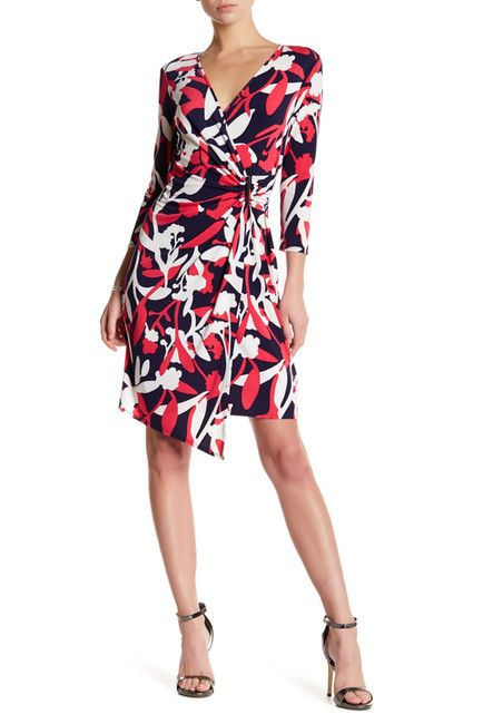 Image of Laundry By Shelli Segal Long Sleeve Printed Wrap Dress
