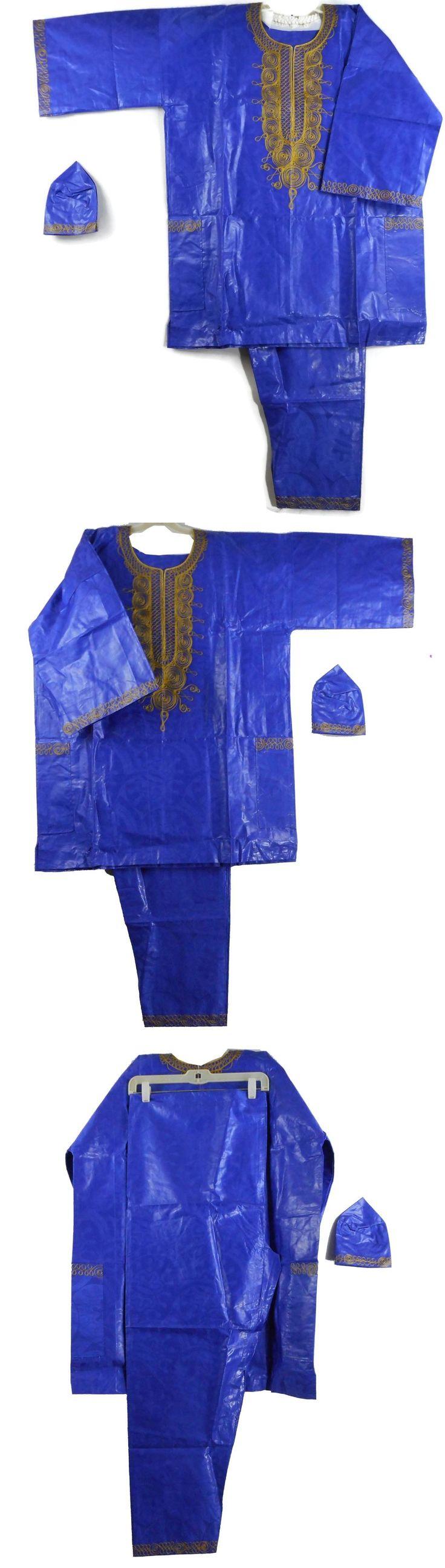 Africa 155241: Traditional Brocade Pant Set African Men Dashiki Boho Suit Plus Siz D Blue Gold -> BUY IT NOW ONLY: $57.95 on eBay!