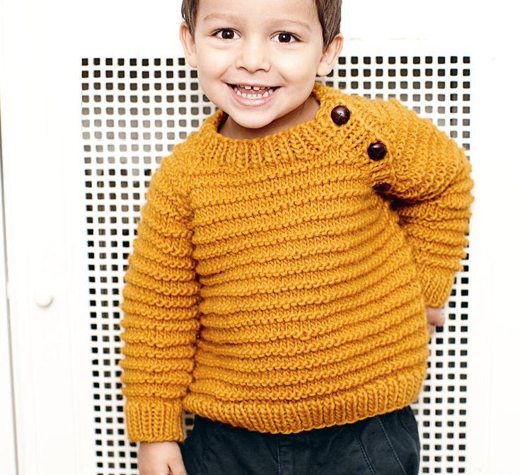 Описание вязания на спицах джемпера цвета карри для мальчика из журнала «Burda. Вязание» №8/2014