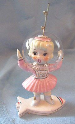 Vintage figurine ty-n\u00e9e girl duck retro decor kitschy lake gift statue doll