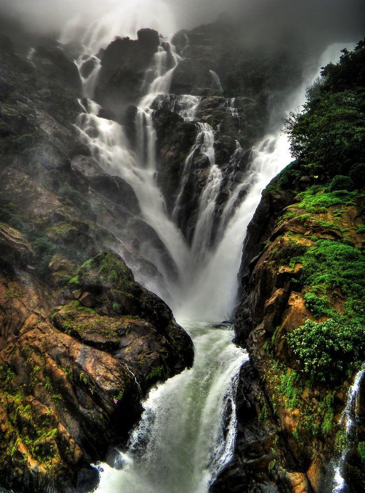 Western Ghats, Mandovi river plummeting down the Dudhsagar Falls in Goa...