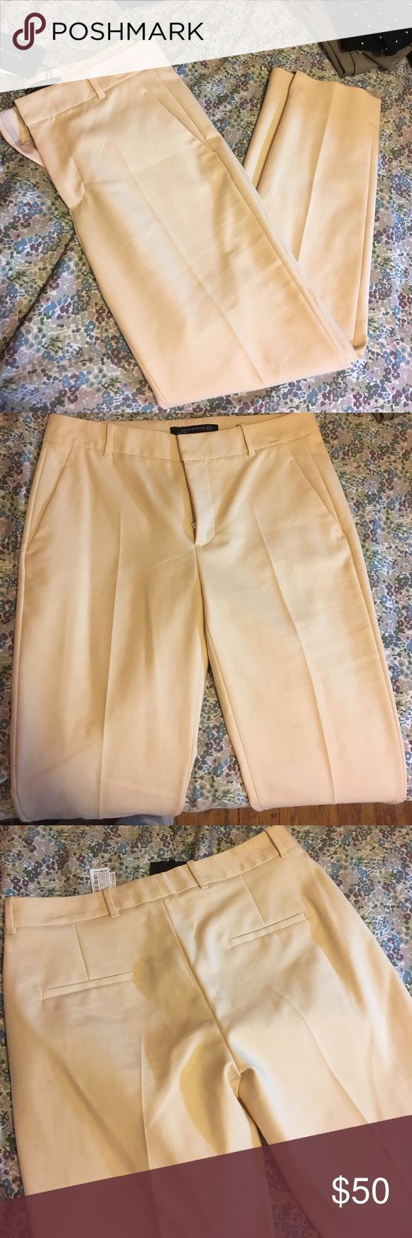 Banana Cream Trousers Banana cream colored trousers. Never before worn. Super soft and perfect for work/ occasion, even casual with some flats and a pullover. I would say these fit like a size 6 Zara Pants Trousers