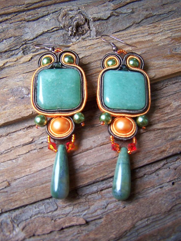 Soutache Jewelry. Green-orange Earring. Autumn colors. Frog or Owl :) OOAK.. $75.00, via Etsy.
