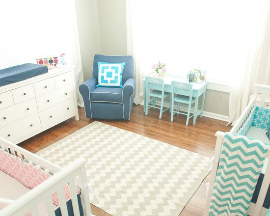fabulous twin nursery decor ideas with twin pink and blue cribs using white and grey chevron - Baby Boy Room Rugs
