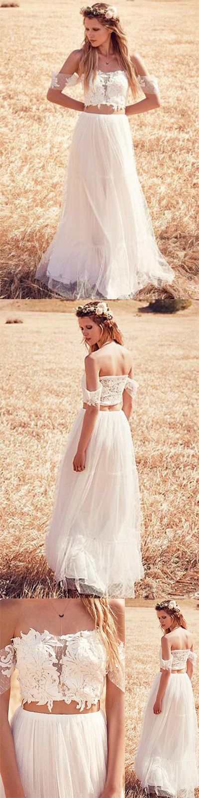 Unique A-Line Two Pieces Off-the-Shoulder Ivory Tulle Princess Lace Wedding Dresses UK PH405#twopiece#ivory#princess#tulle#offshoulder#bridaldress