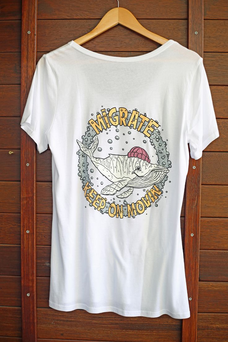 MIGALOO  THE WHALE MIGRATION WOMENS T-SHIRT OR TANK IN BLACK OR WHITE.  Quality materials, pre-shrunk with cool internal printed tag for comfort and style.  Drawn to good vibes - Drawn Downunder.