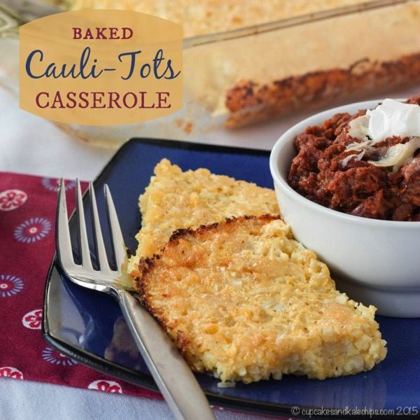 Make Baked Cauli-Tots even simpler by turning them into a casserole for an easy, cheesy, low carb, veggie side dish. Move over hash browns and tater tots!