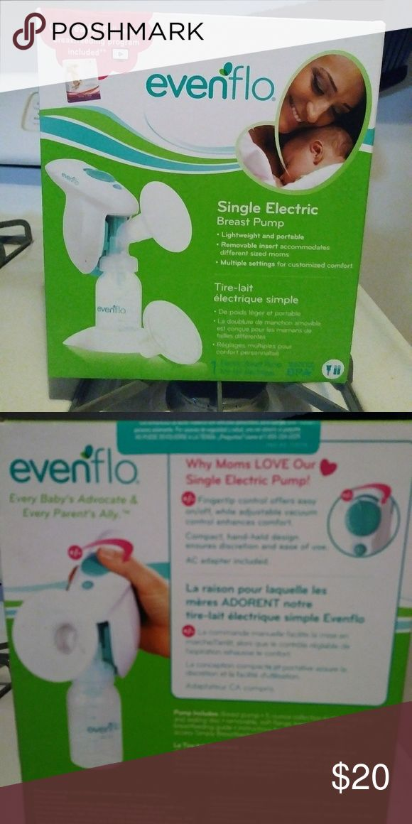 Evenflo Single Electric Breast pump New in box. Evenflo single electric breast pump. Lightweight, portable, removable insert accommodates different size moms, multiple settingfor custom comfort. Runs on 2 AA batteries or with ac adapter thats included for convience. Also has fingertip control yhat offers easy on/off option, & adjustable vacuum control enhances comfort. And comes with Get Ready! A full length breastfeeding program. Bought for a gift but sister recieved 3 others. evenflo…