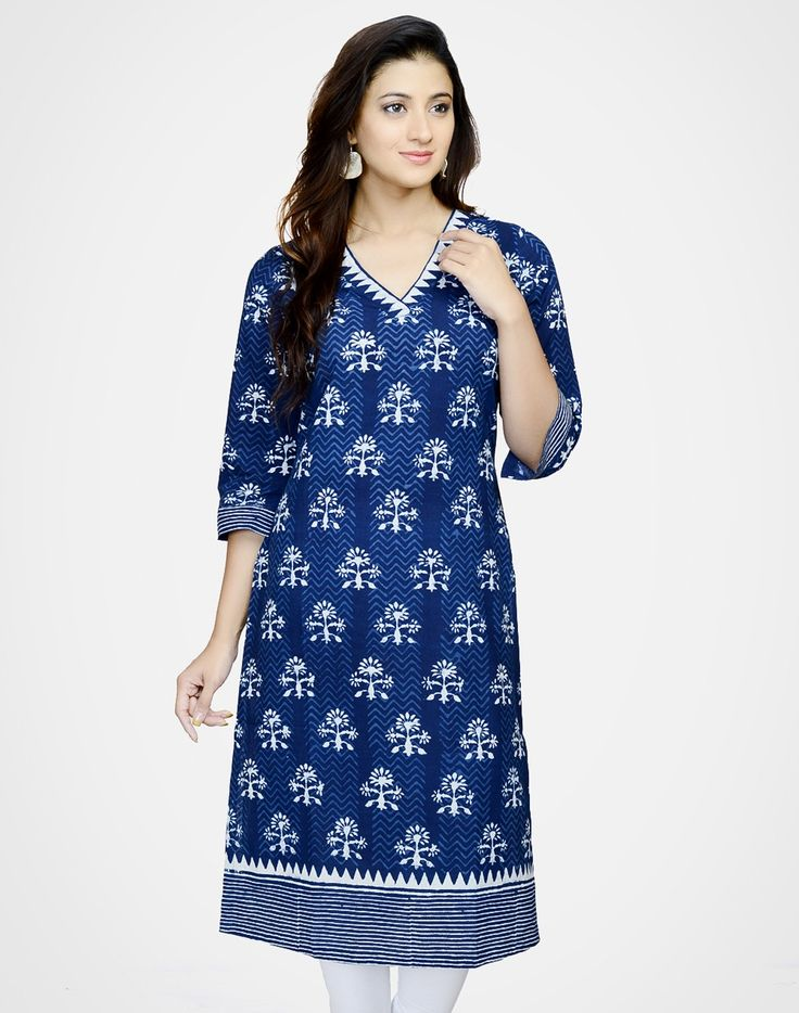 Cotton Printed V Neck Border Long Kurta